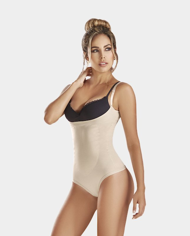 Latex-Thermal-Thong-Body-Shaper-beige-front